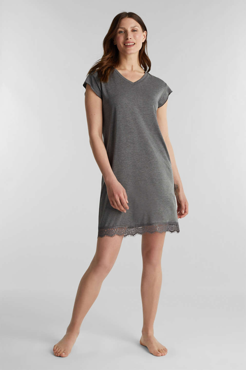 Esprit - Stretch jersey nightshirt with lace