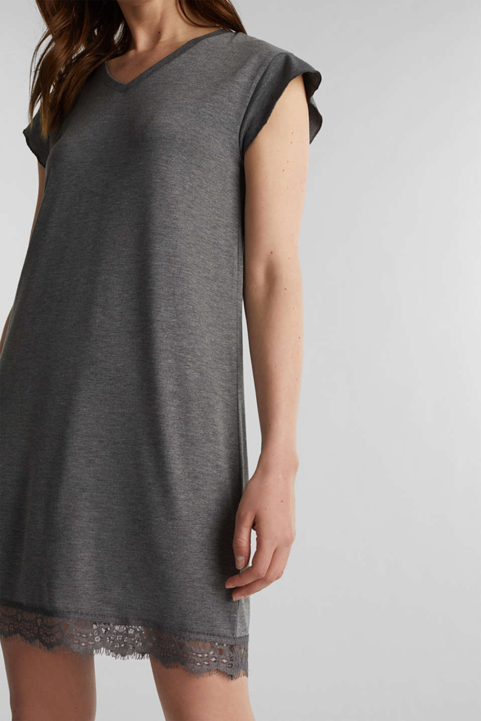 Stretch jersey nightshirt with lace, ANTHRACITE 2, detail image number 3