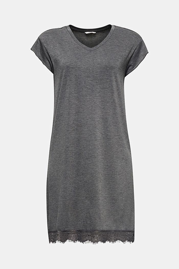 Chemise de nuit en jersey stretch et dentelle, ANTHRACITE, detail image number 5