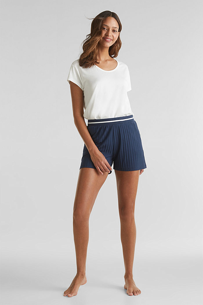 Ribbed shorts with a striped waistband, NAVY, detail image number 0