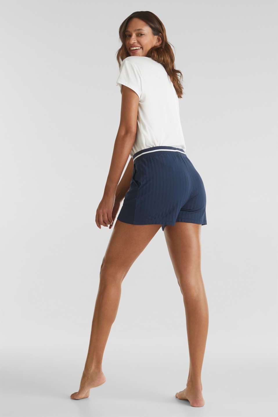 Ribbed shorts with a striped waistband, NAVY 2, detail image number 2