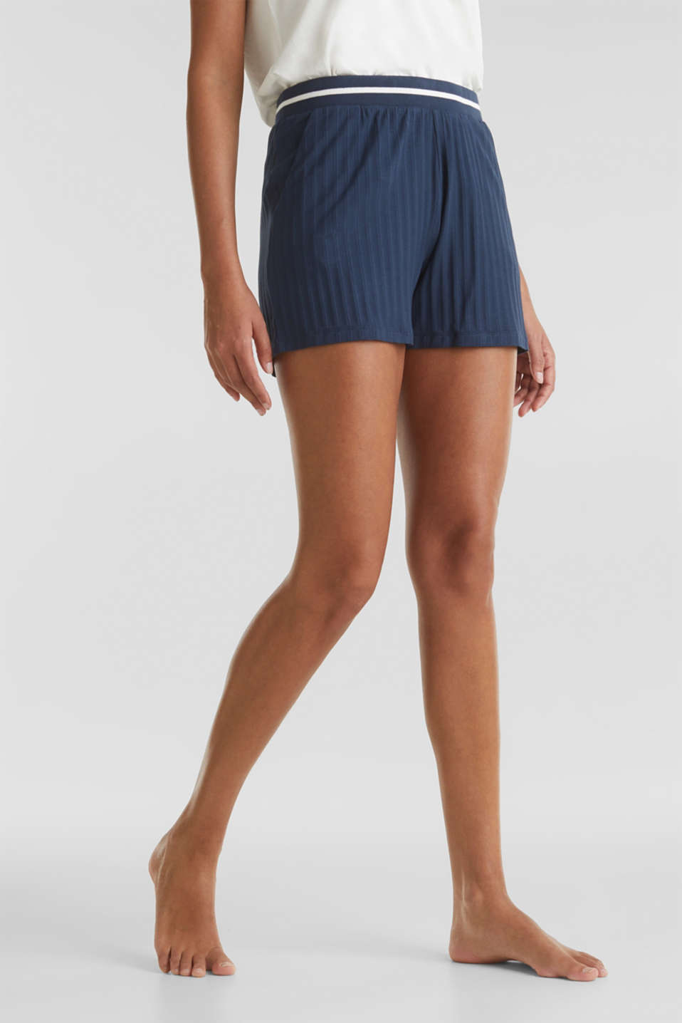 Ribbed shorts with a striped waistband, NAVY 2, detail image number 4