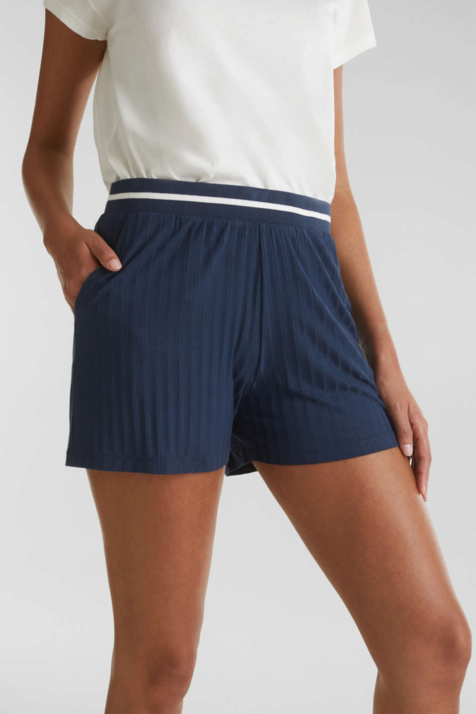 Ribbed shorts with a striped waistband, NAVY 2, detail image number 1
