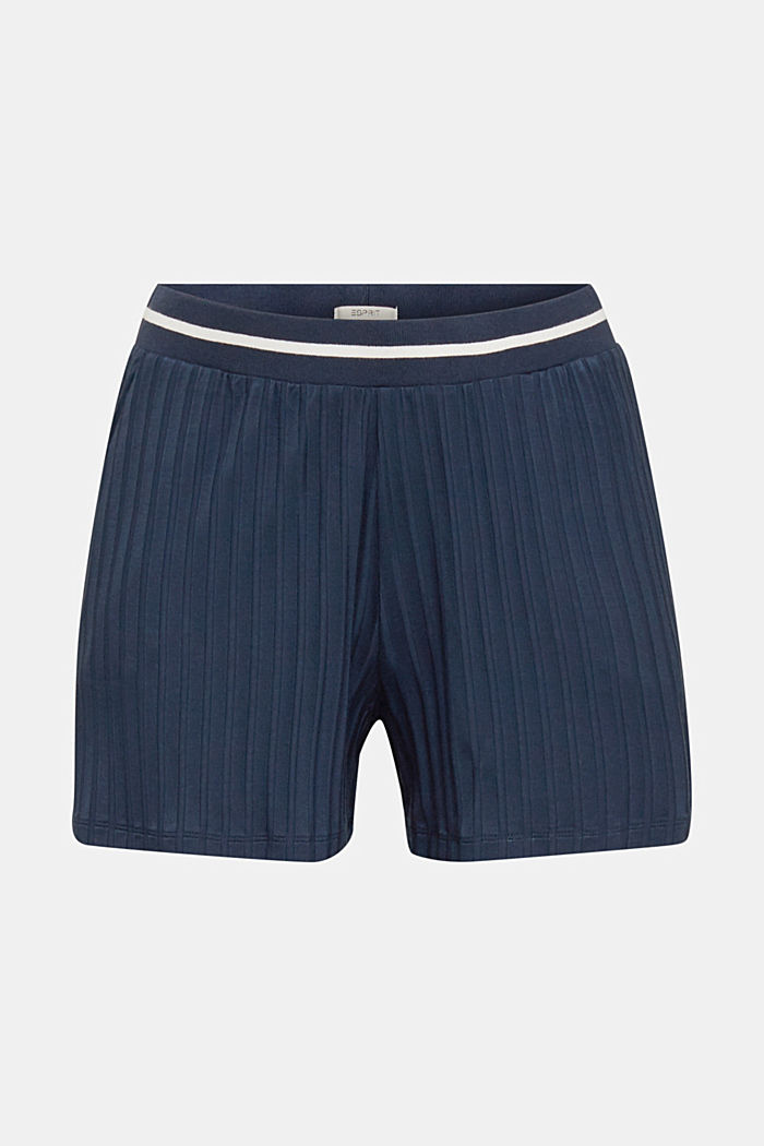 Ribbed shorts with a striped waistband, NAVY, detail image number 5