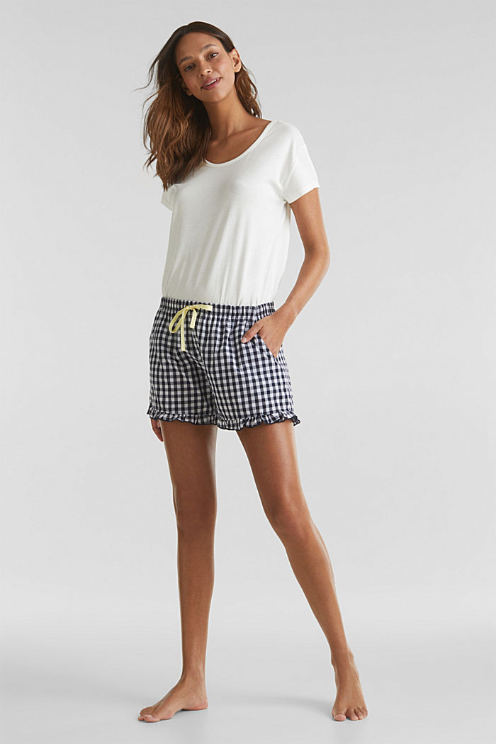 Woven shorts with frills, 100% cotton