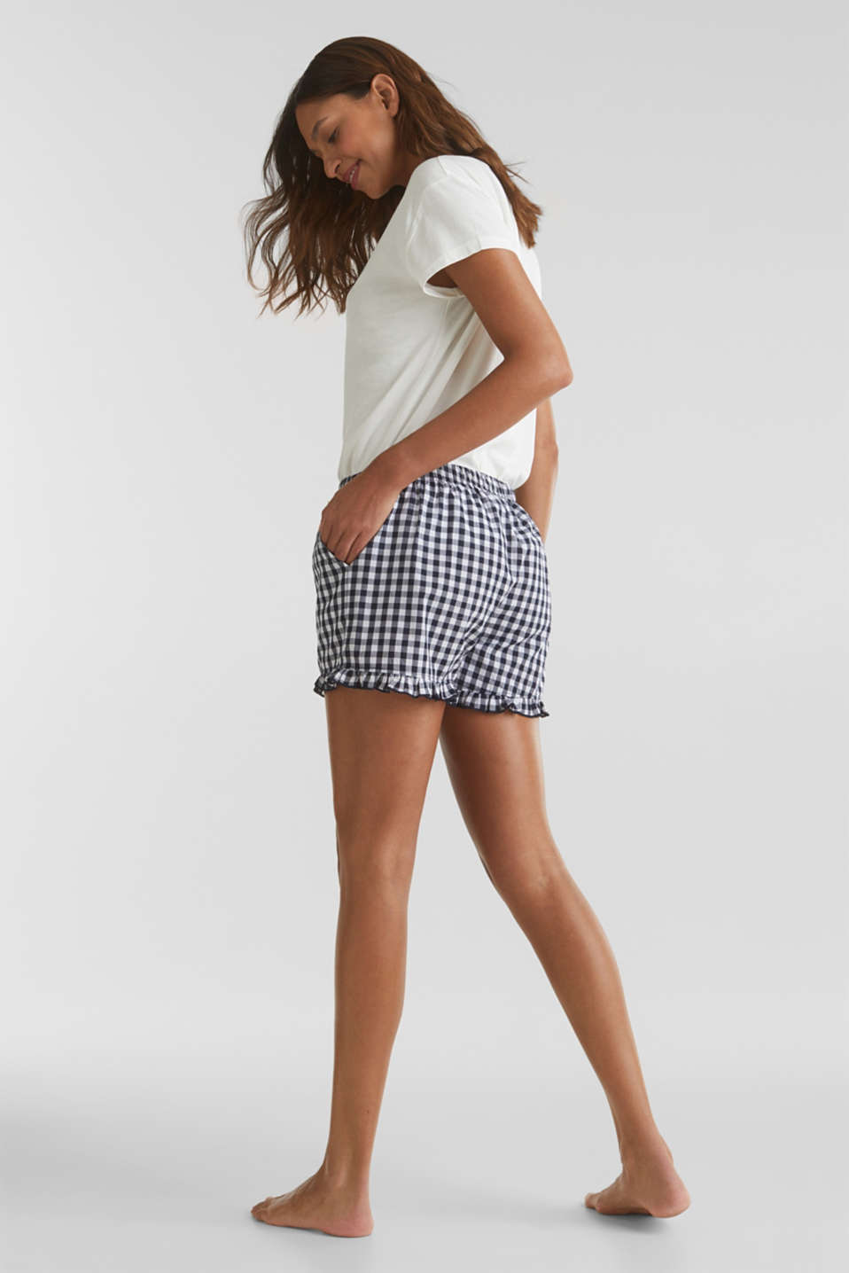 Woven shorts with frills, 100% cotton, NAVY 2, detail image number 2