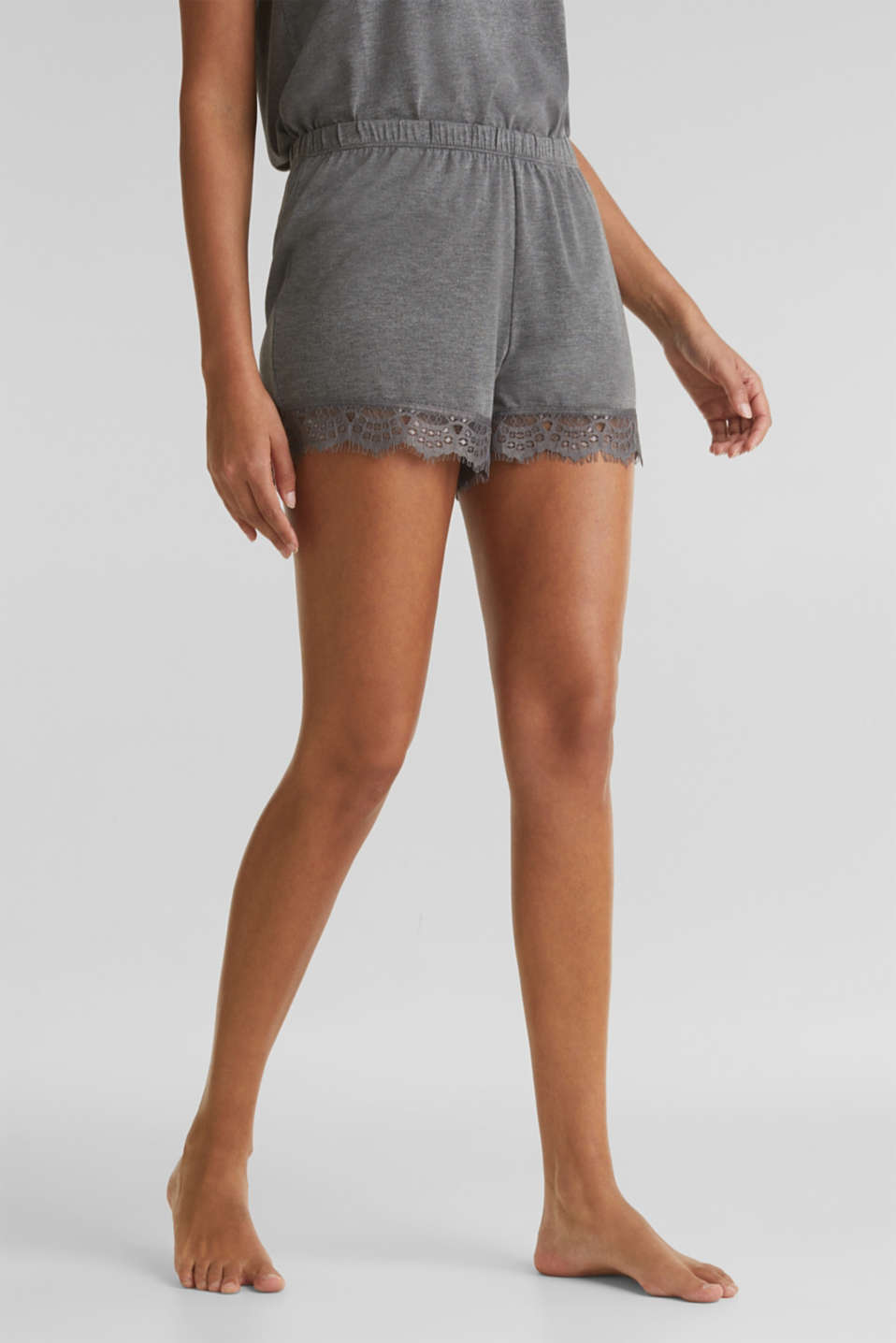 Stretch jersey shorts with lace, ANTHRACITE 2, detail image number 0