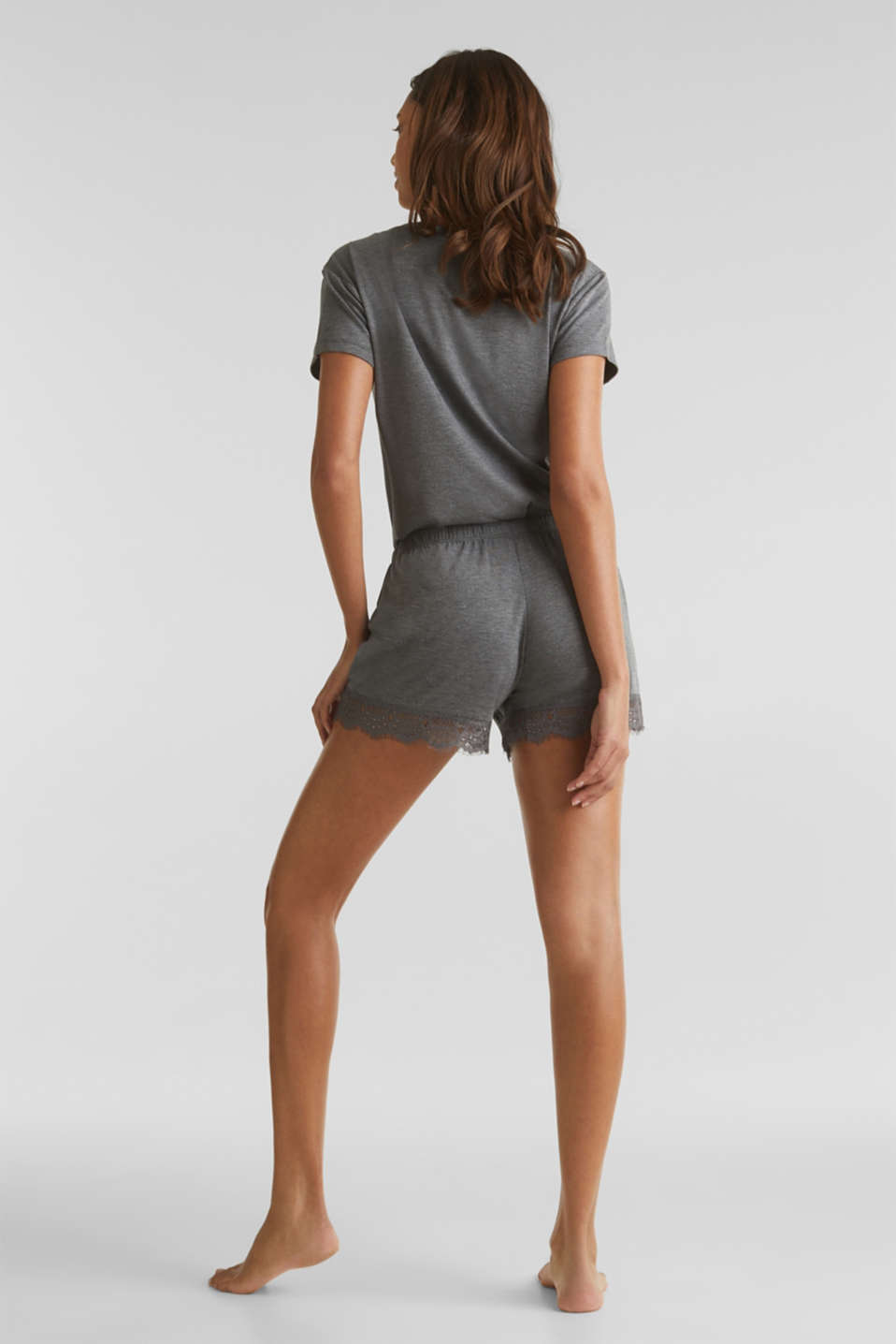 Stretch jersey shorts with lace, ANTHRACITE 2, detail image number 3