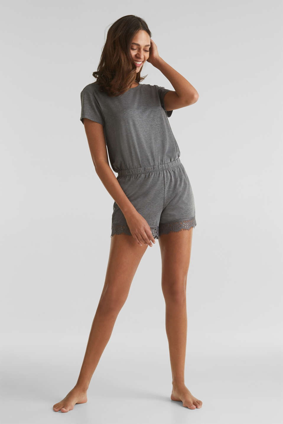 Stretch jersey shorts with lace, ANTHRACITE 2, detail image number 1