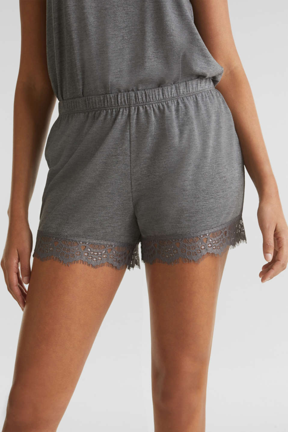 Stretch jersey shorts with lace, ANTHRACITE 2, detail image number 2