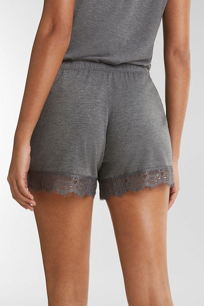 Jersey-Stretch-Shorts mit Spitze, ANTHRACITE, detail image number 5