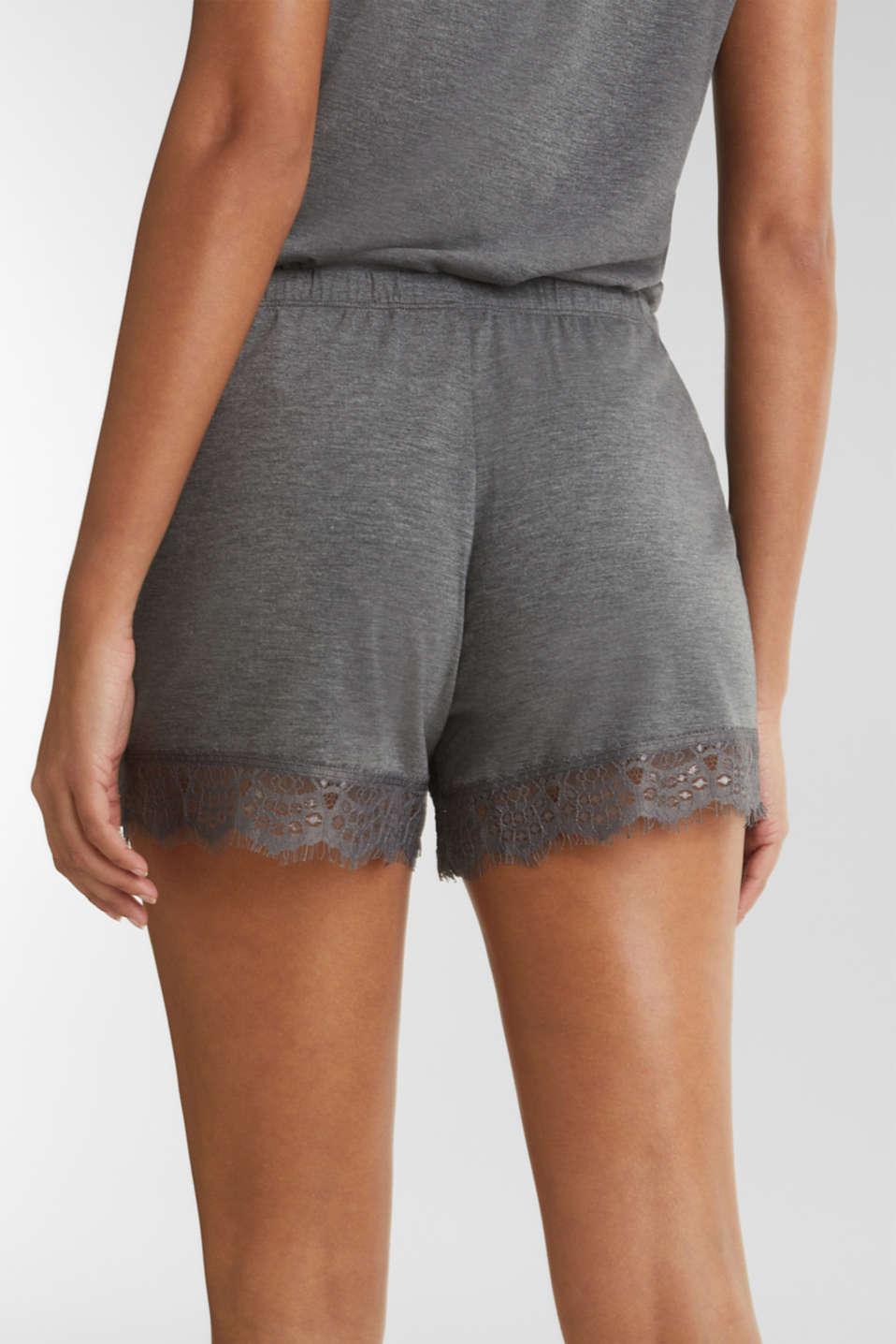 Stretch jersey shorts with lace, ANTHRACITE 2, detail image number 5