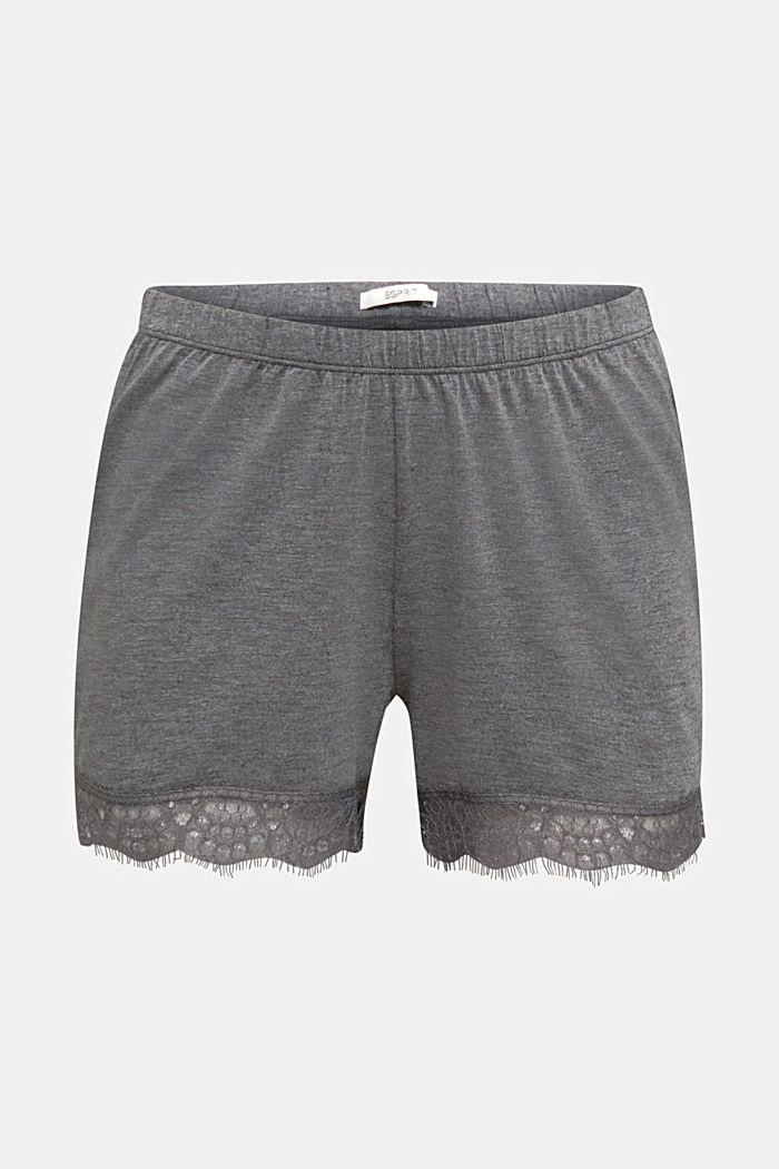 Jersey-Stretch-Shorts mit Spitze, ANTHRACITE, detail image number 6