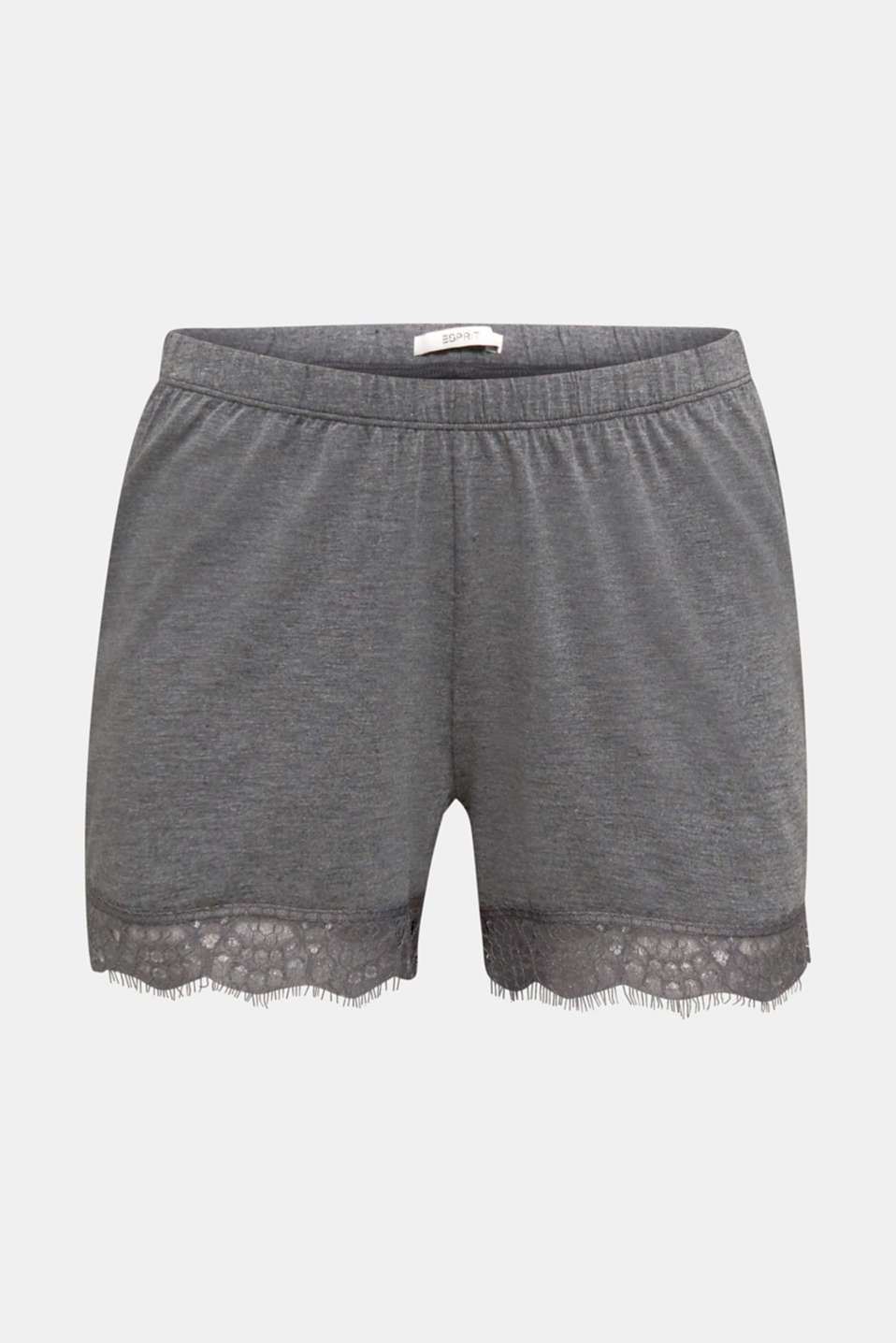 Stretch jersey shorts with lace, ANTHRACITE 2, detail image number 6