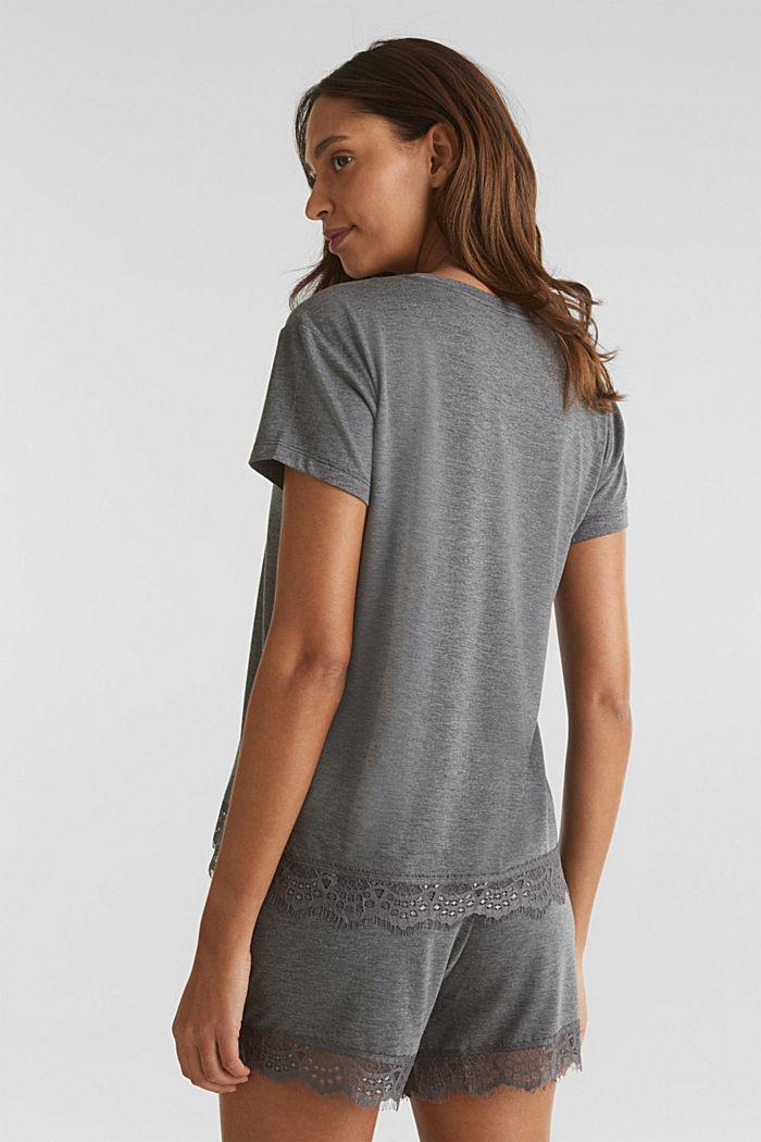 Camiseta jaspeada con bajo de encaje, ANTHRACITE, detail image number 2