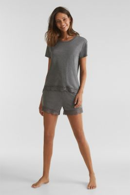 Melange top with a lace hem, ANTHRACITE 2, detail