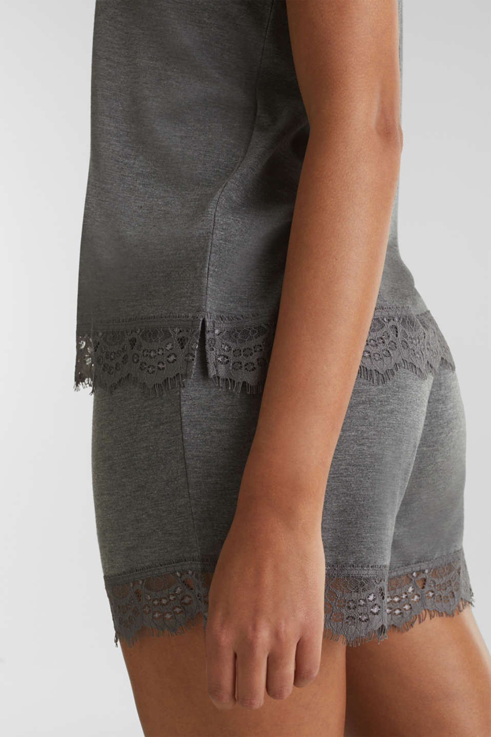 Melange top with a lace hem, ANTHRACITE 2, detail image number 3