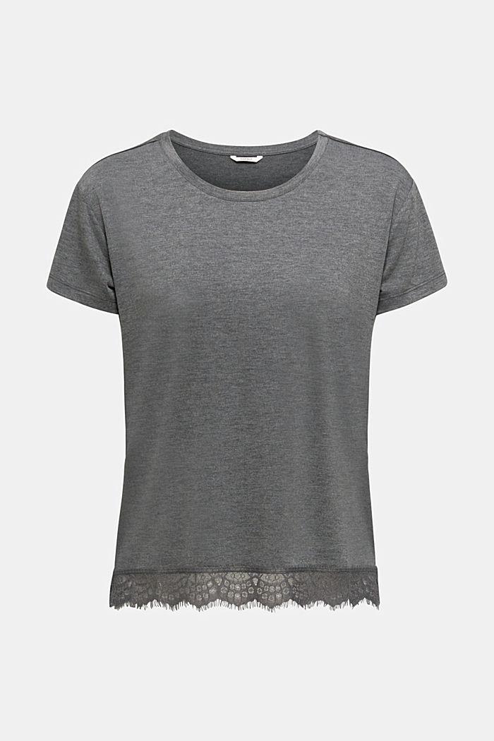 Camiseta jaspeada con bajo de encaje, ANTHRACITE, detail image number 6