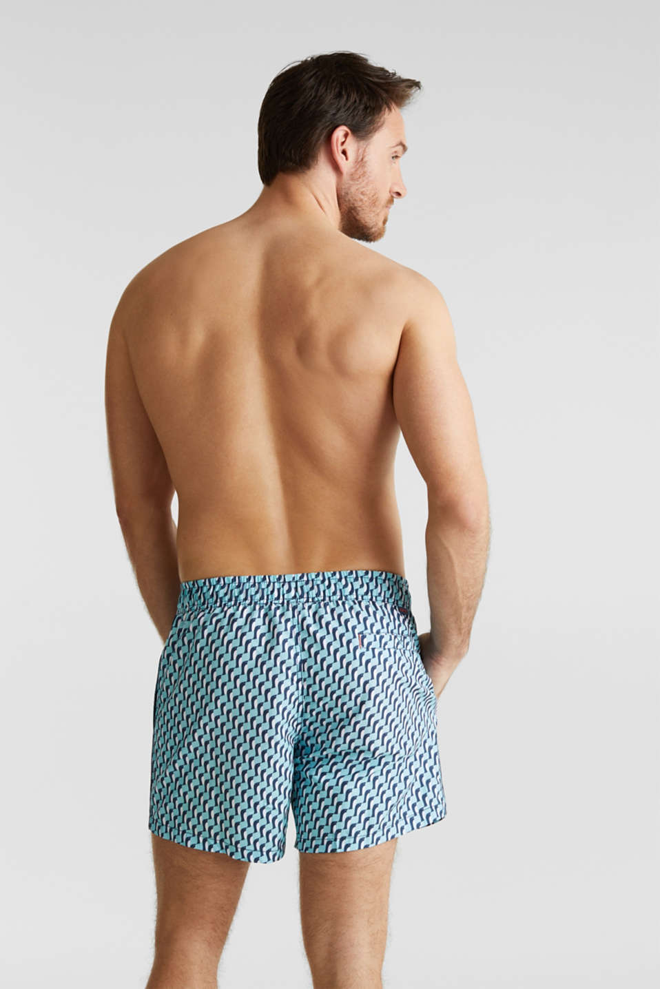 Swim shorts with a graphic print, LIGHT AQUA GREEN, detail image number 1