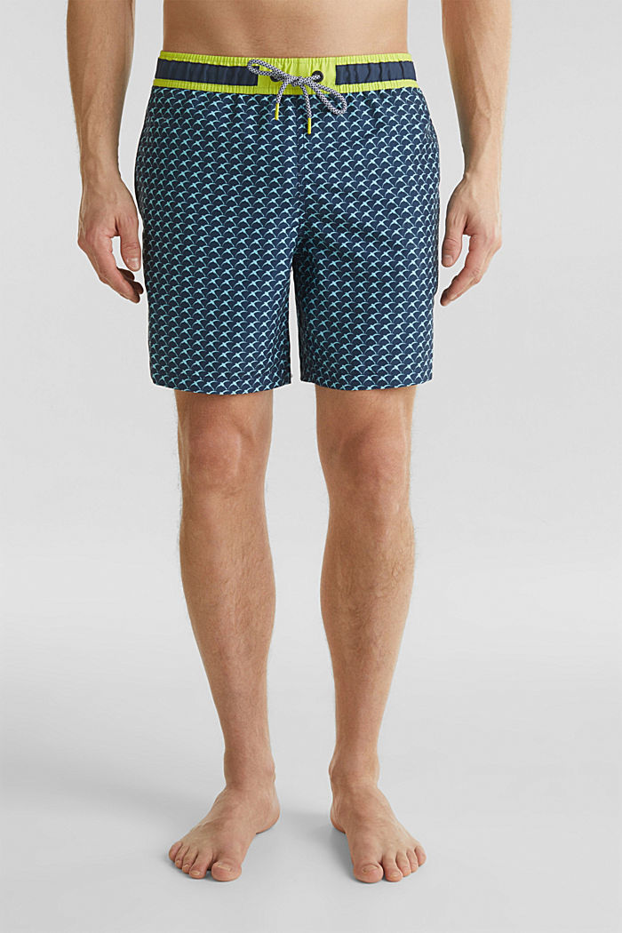 Swim shorts with a print and neon details, NAVY, detail image number 0