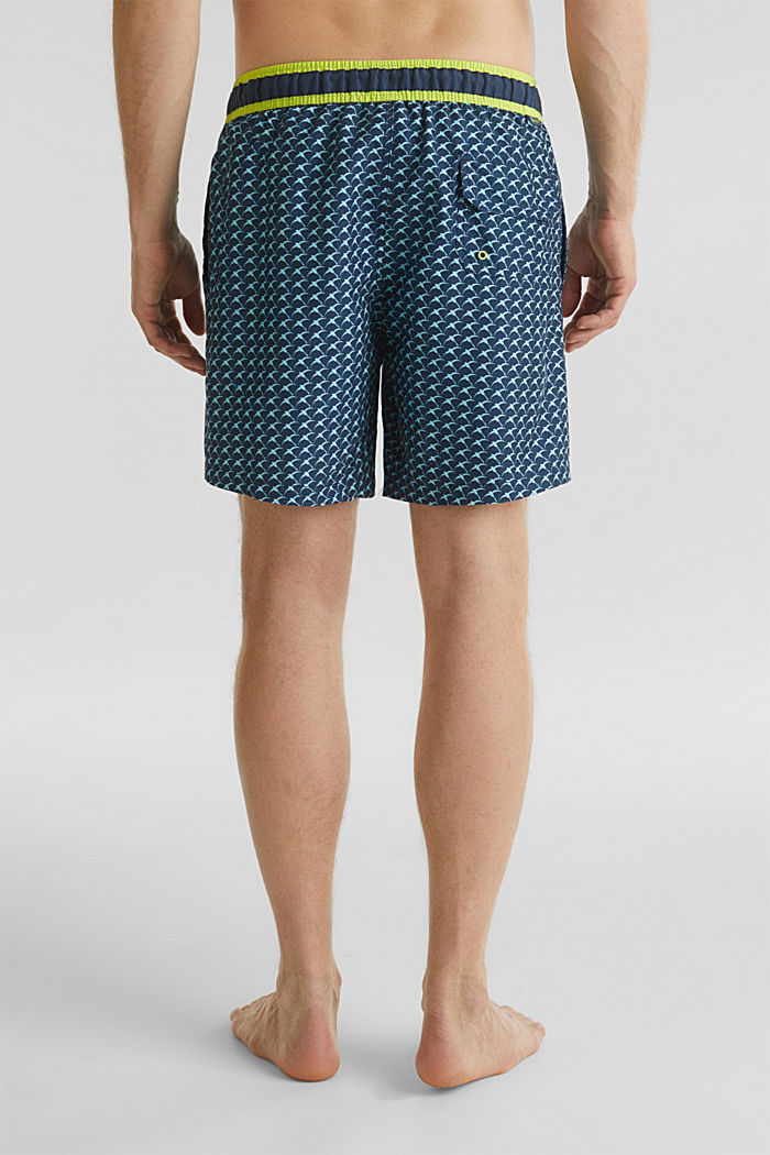 Swim shorts with a print and neon details, NAVY, detail image number 1