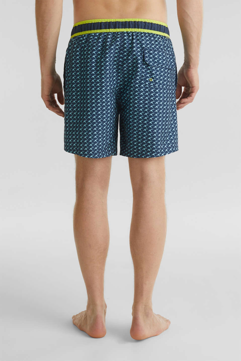 Swim shorts with a print and neon details, NAVY 2, detail image number 1