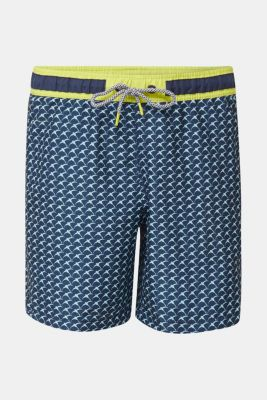 Swim shorts with a print and neon details, NAVY 2, detail