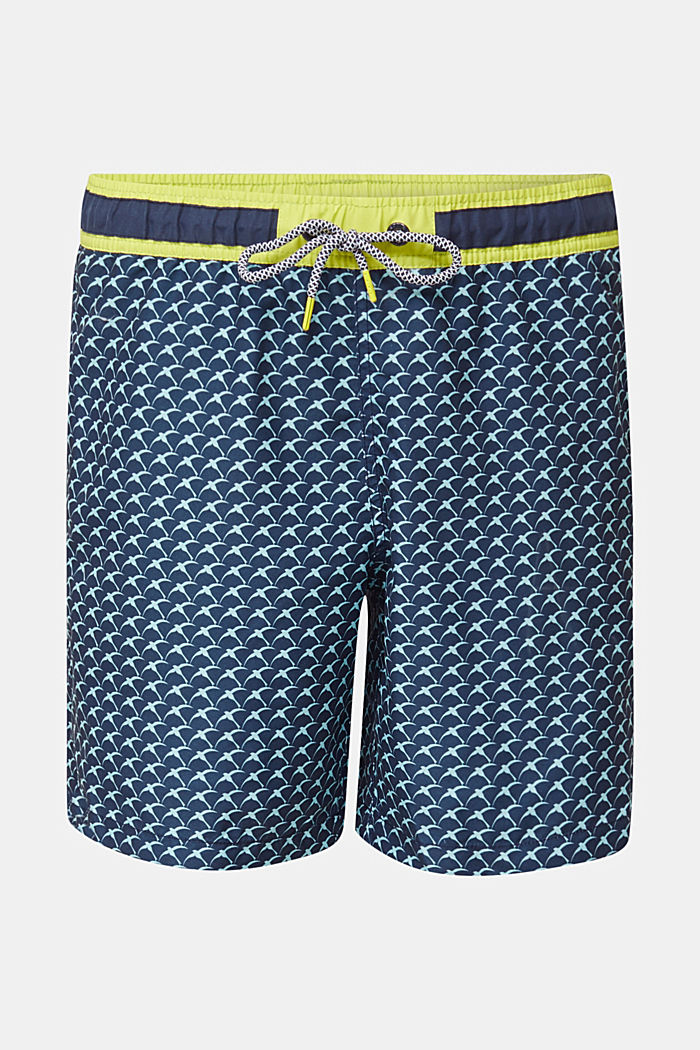Swim shorts with a print and neon details, NAVY, detail image number 3