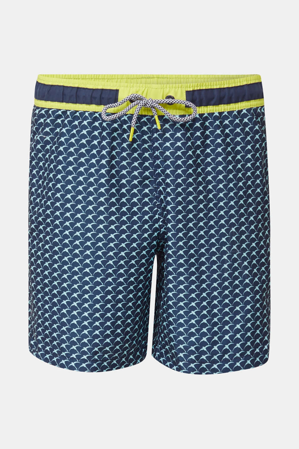 Swim shorts with a print and neon details, NAVY 2, detail image number 3