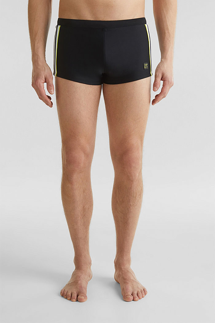 Retro swim shorts with stripes, BLACK, detail image number 0