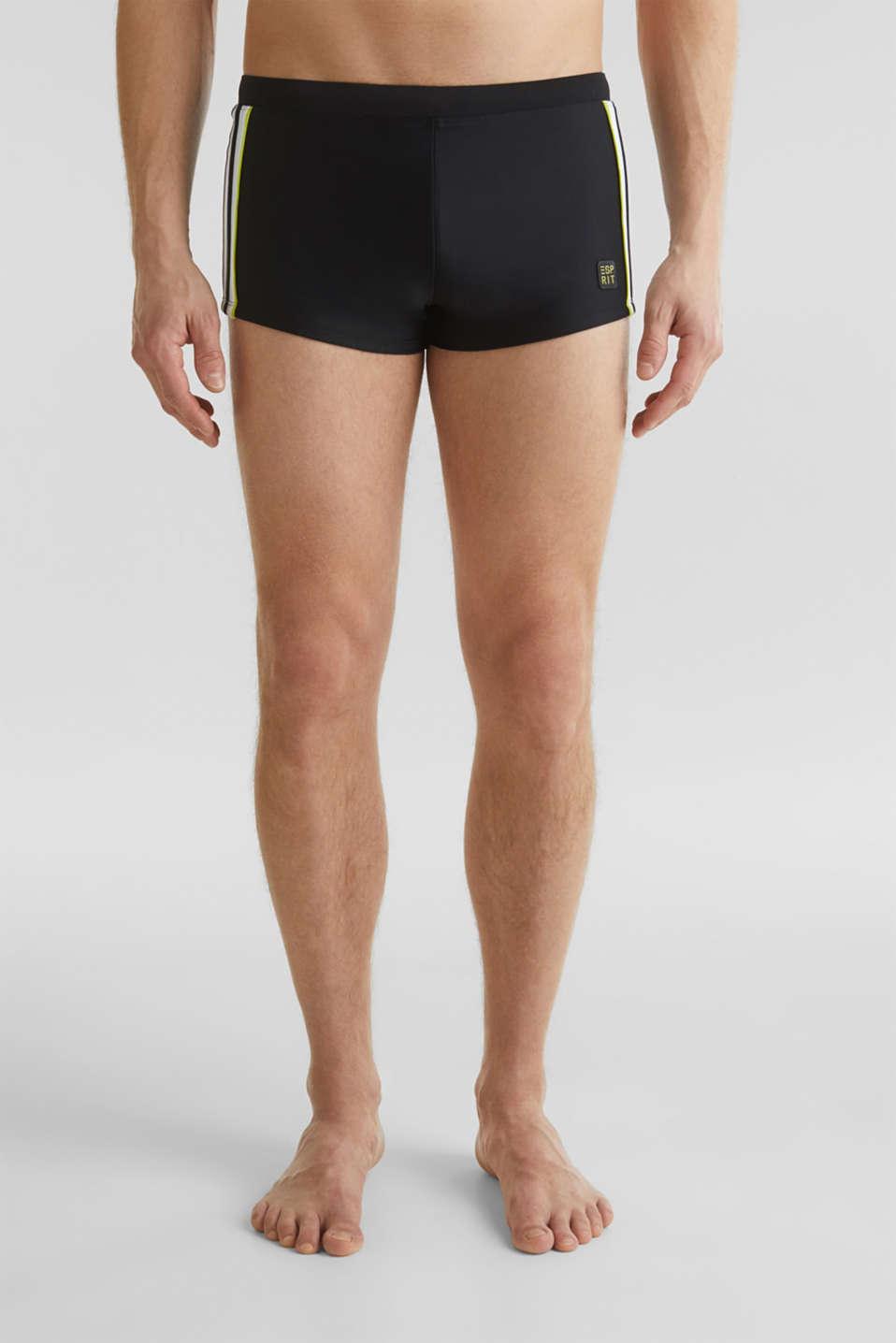 Retro swim shorts with stripes, BLACK, detail image number 0