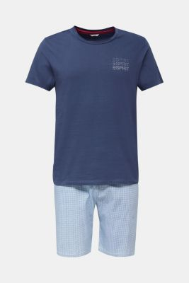 Jersey pyjamas with checks, 100% cotton, NAVY 2, detail