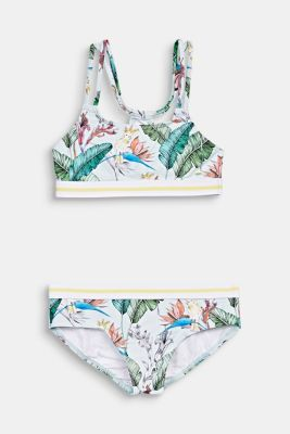 Crop top bikini with a tropical print, LIGHT AQUA GREEN, detail