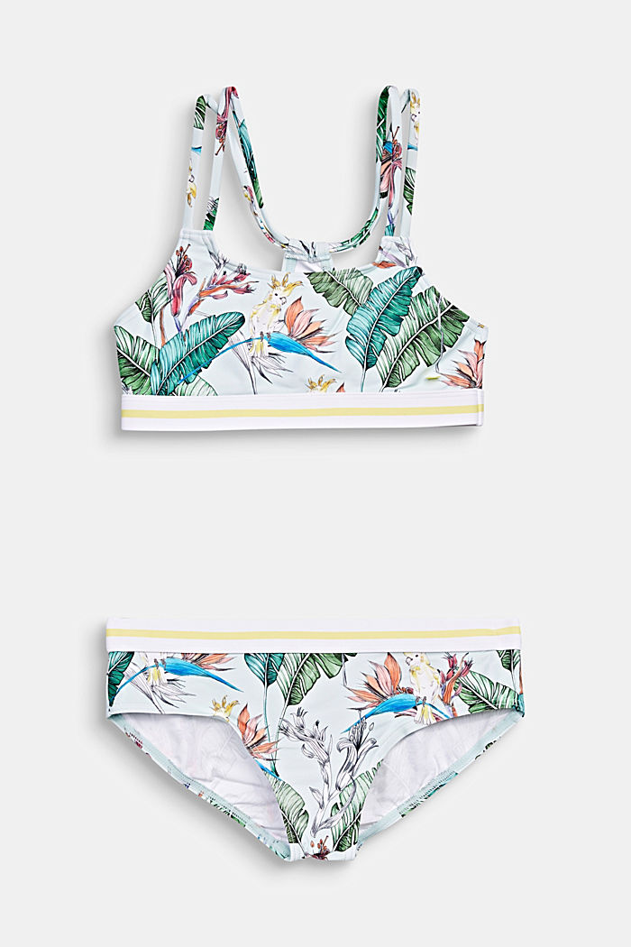 Crop top bikini with a tropical print, LIGHT AQUA GREEN, detail image number 0