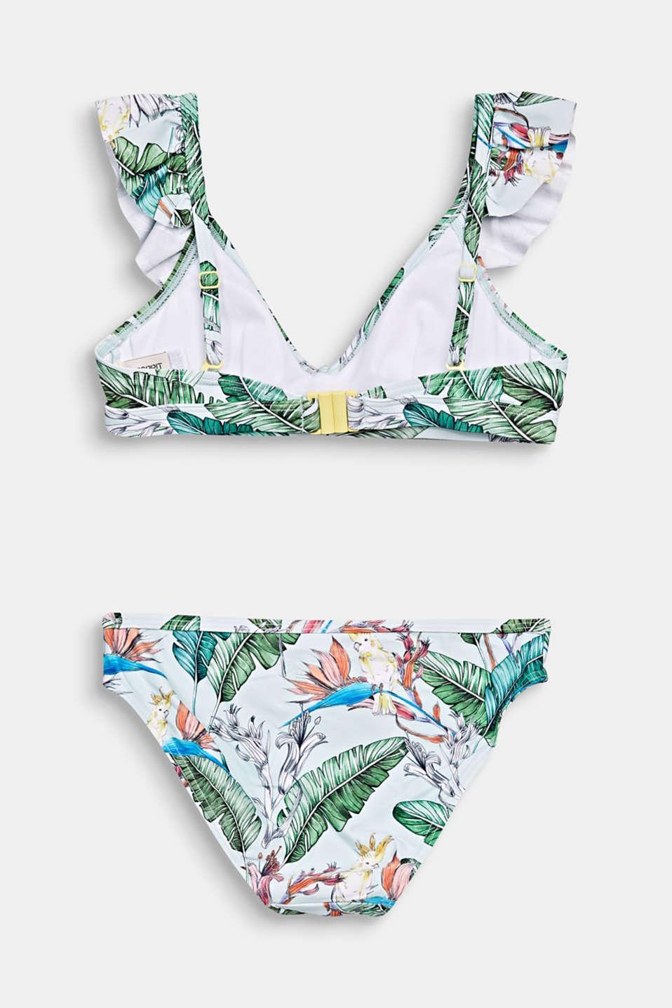 Padded crop top bikini with flounces, LIGHT AQUA GREEN, detail image number 1