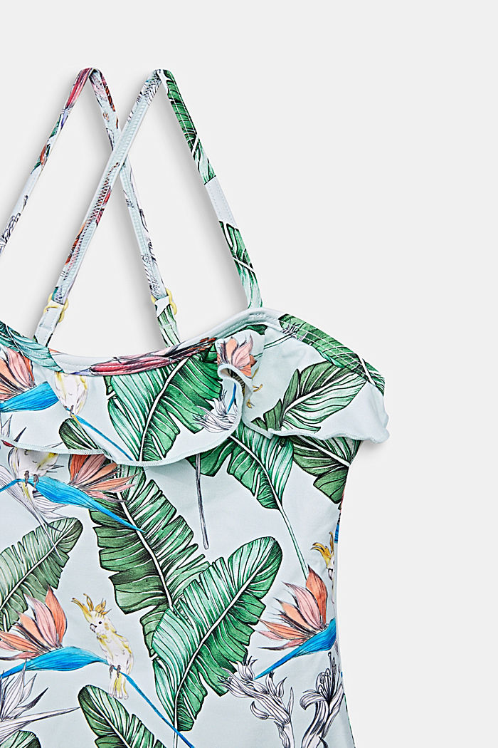 Swimsuit with a print and frills, LIGHT AQUA GREEN, detail image number 2