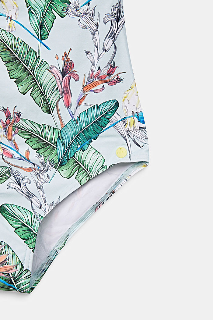 Swimsuit with a print and frills, LIGHT AQUA GREEN, detail image number 3