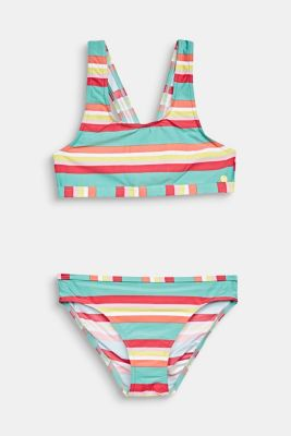 Crop top bikini with colourful stripes, DUSTY GREEN, detail