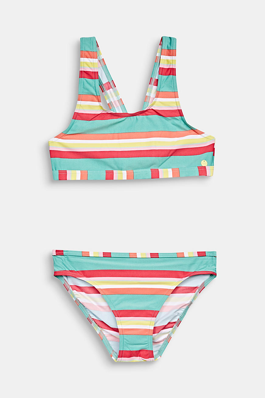 Crop top bikini with colourful stripes