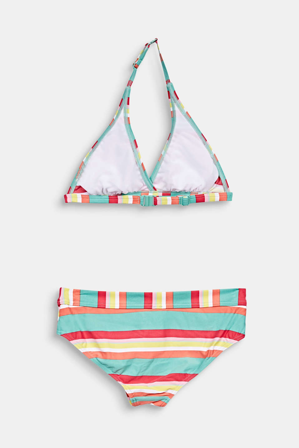 Padded halterneck bikini with stripes, DUSTY GREEN, detail image number 1