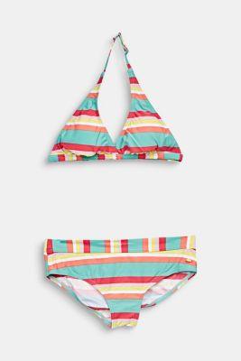 Padded halterneck bikini with stripes, DUSTY GREEN, detail