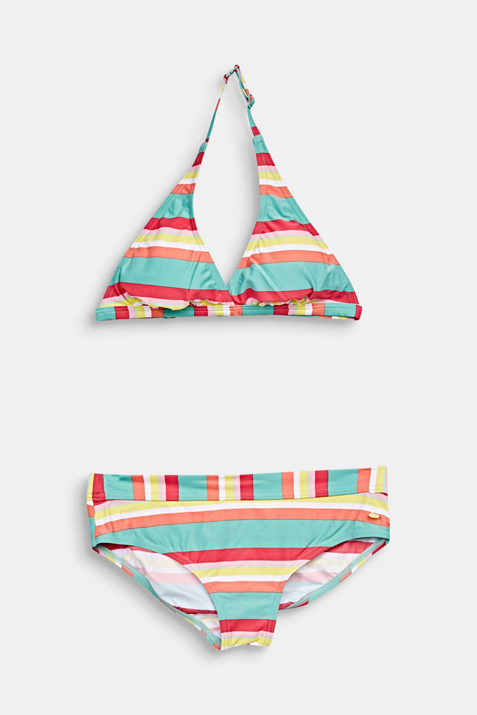 Esprit - Padded halterneck bikini with stripes