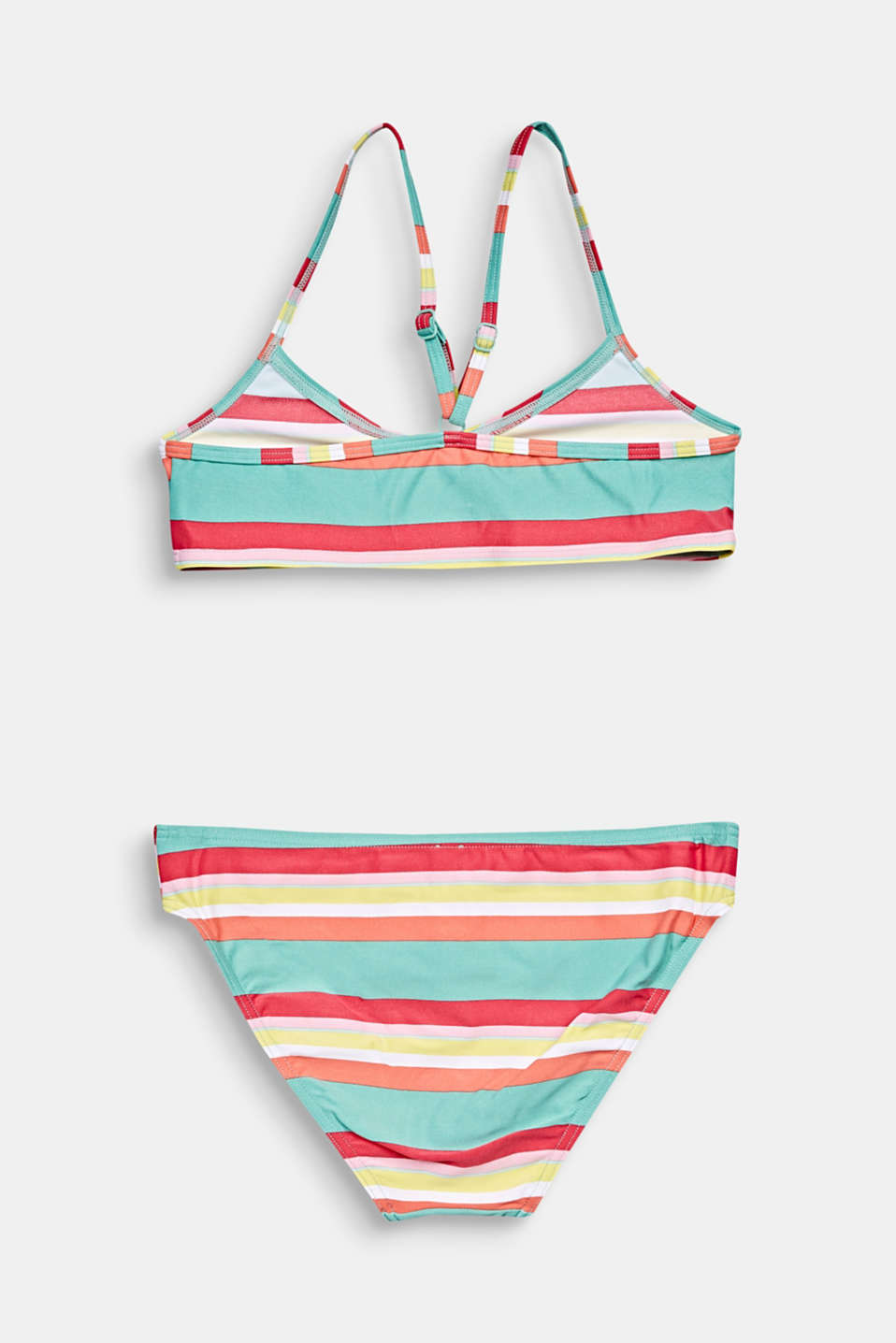 Crop top bikini with colourful stripes, DUSTY GREEN, detail image number 1