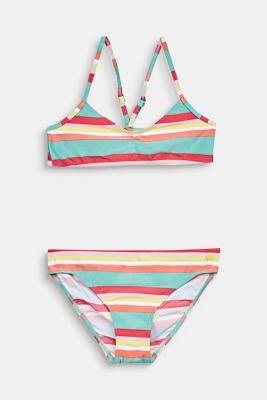 Crop top bikini with colourful stripes, DUSTY GREEN, detail