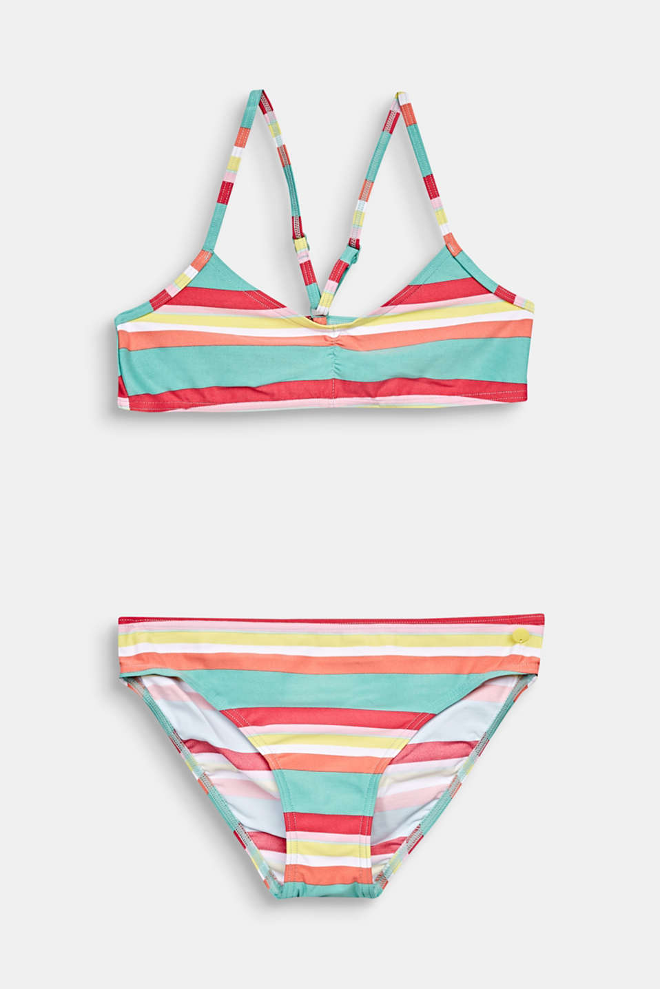 Crop top bikini with colourful stripes, DUSTY GREEN, detail image number 0