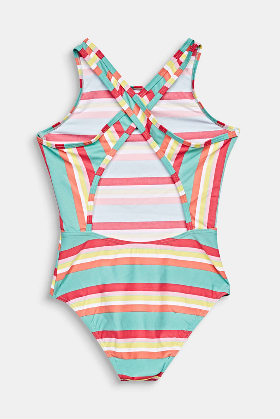 Colourfully striped swimsuit with crossed-over straps, DUSTY GREEN, detail image number 1