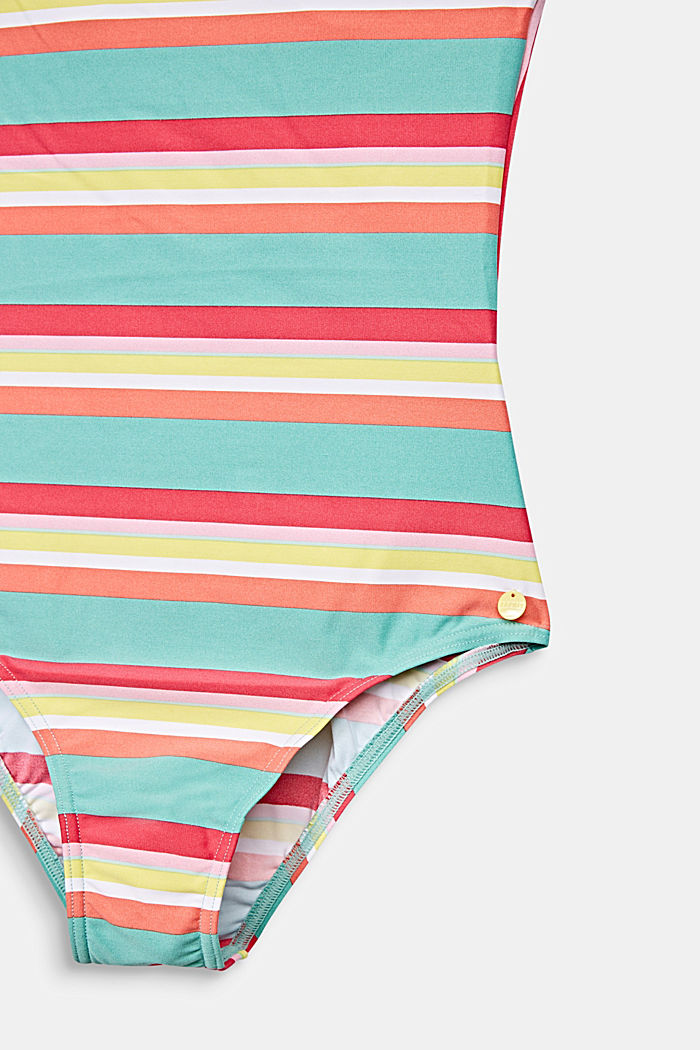 Colourfully striped swimsuit with crossed-over straps, DUSTY GREEN, detail image number 2