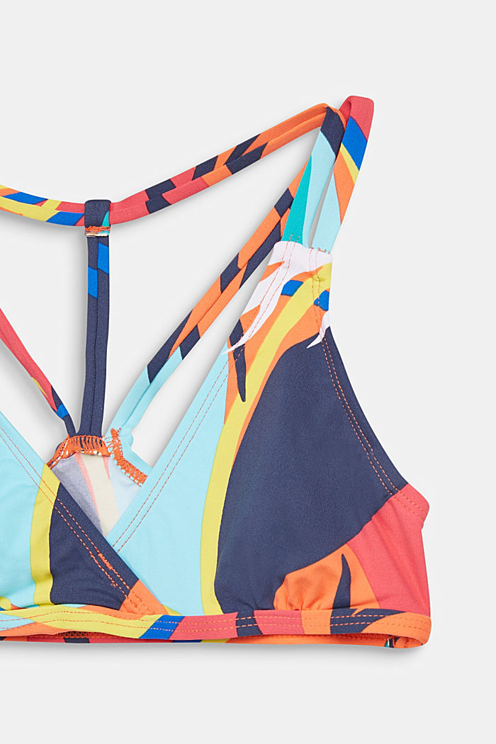 Crop top bikini with a colourful print, RED ORANGE, detail image number 3