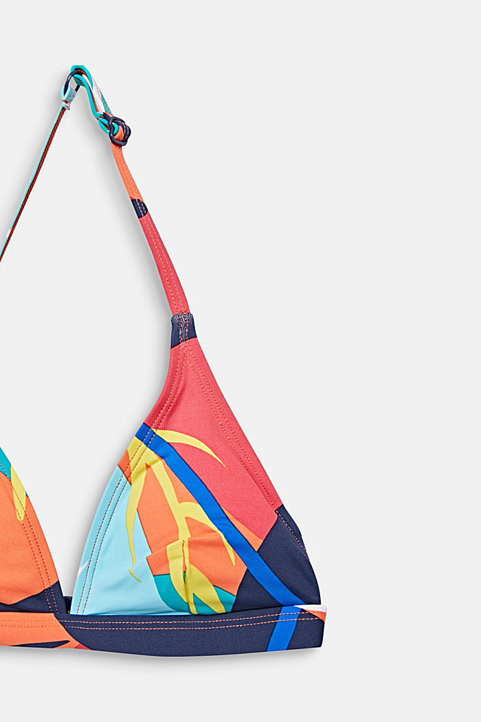 Padded halterneck bikini with a print, RED ORANGE, detail image number 2