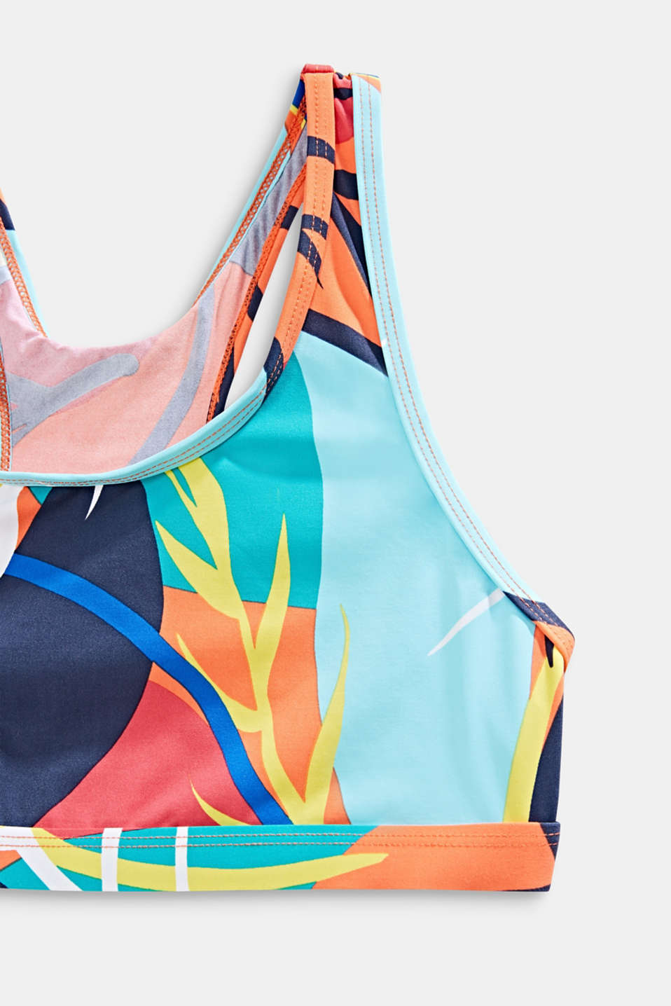 Crop top bikini with a colourful print, RED ORANGE, detail image number 2